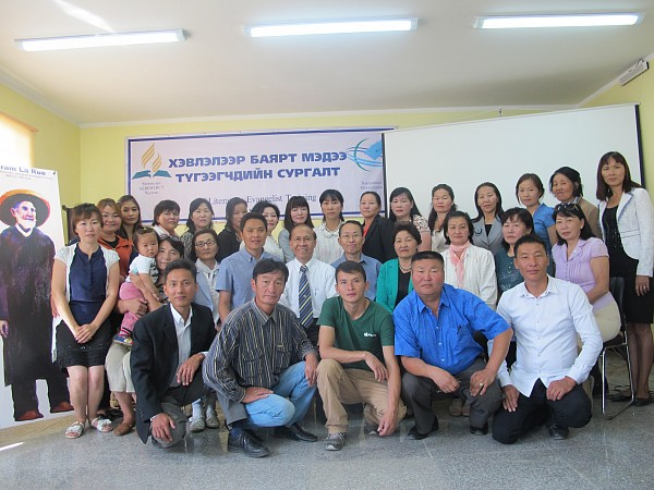 Pastor Ven Bermudez (seated in the middle) with Literature Evangelists in Mongolia at the Literature Evangelist Training in Ulaanbaatar on August 11-15 (photo contributed by V Bermudez).